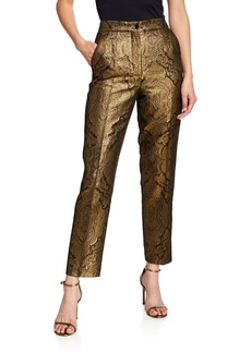 Etro Jacquard Metallic Paisley Tux-Striped Trousers