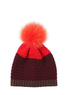 Etro Knitted Beanie Hat W/ Fur Pompom