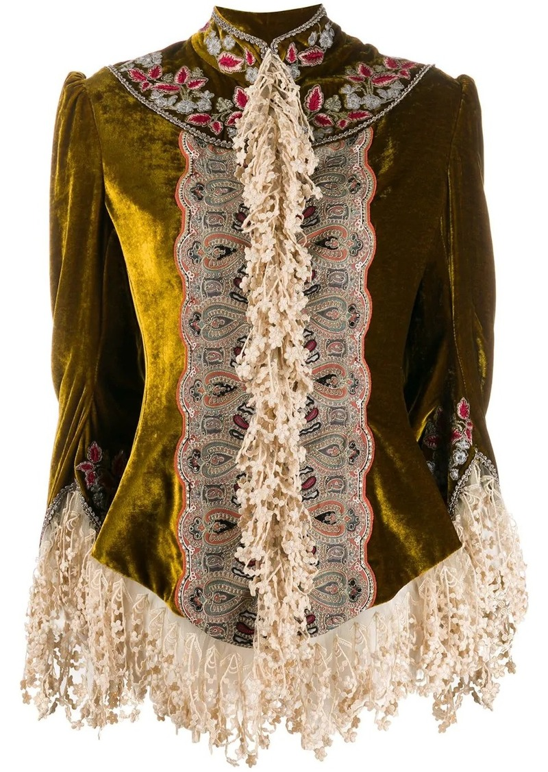 Etro lace detail velvet fringed shirt