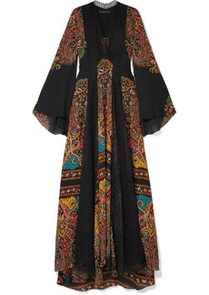 Etro Lace-paneled Printed Silk-chiffon Maxi Dress