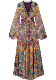 Etro Lace-trimmed Fil Coupé Silk-blend Chiffon Maxi Dress