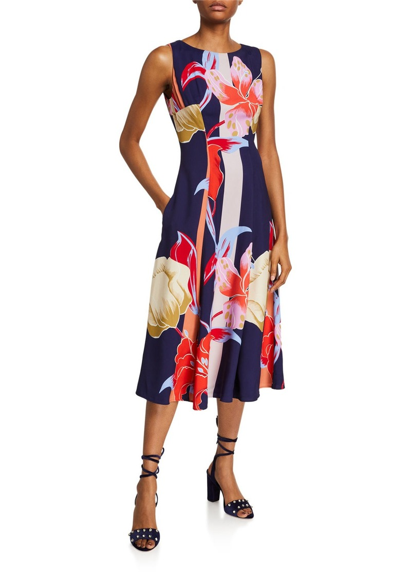 Etro Large Lily-Print Sleeveless Dress