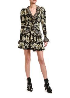 Etro Laser-Cut Lace Ruffled Mini Dress