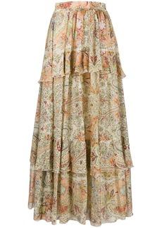 Etro layered paisley-print maxi skirt