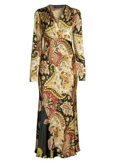 Etro Leaf-Print Hammered Dress