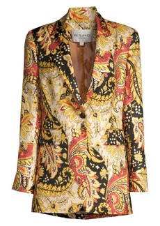 Etro Leaf Print Silk Twill Jacket