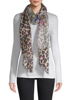 Etro Leopard Print Silk & Cashmere Scarf