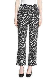 Etro Leopard-Print Straight-Leg Crepe Cropped Pants