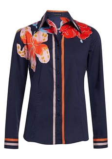 Etro Lily-Print Cotton Poplin Shirt