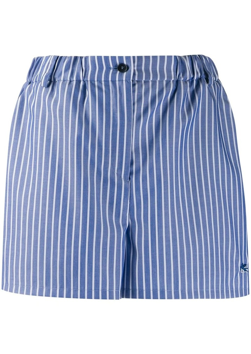 Etro logo embroidered pinstriped shorts
