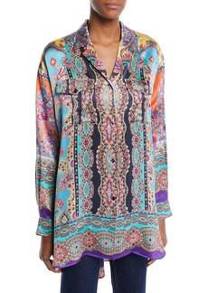 Etro Long-Sleeve Button-Front Equipment-Pocket Harlem-Print Oversized Silk Shirt