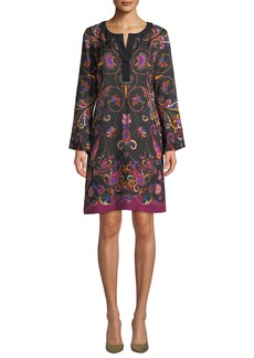 Etro Long-Sleeve Floral-Matelasse Caftan Dress