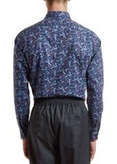 Etro Men's Cotton Floral-Print Sport Shirt
