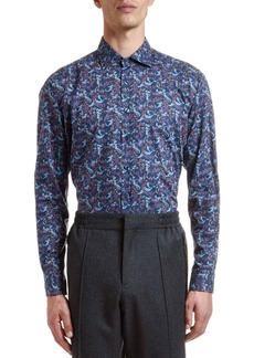 Etro Men's Cotton Floral-Print Sport Shirt