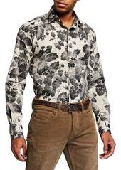 Etro Men's Digital Floral-Print Stretch-Cotton Sport Shirt