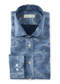 Etro Men's Embroidered Gingham Shirt