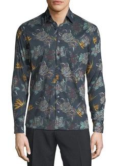 Etro Men's Oversize Floral Woven Sport Shirt