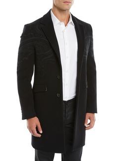 Etro Men's Tonal Paisley Wool-Blend Overcoat