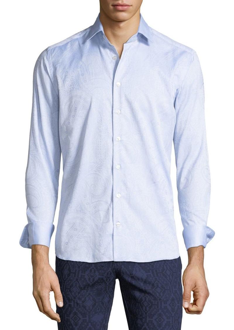 Etro Men's Tonal Paisley Woven Sport Shirt  Blue