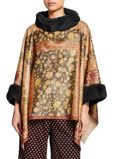 Etro Metallic Flannel Cape with Fur