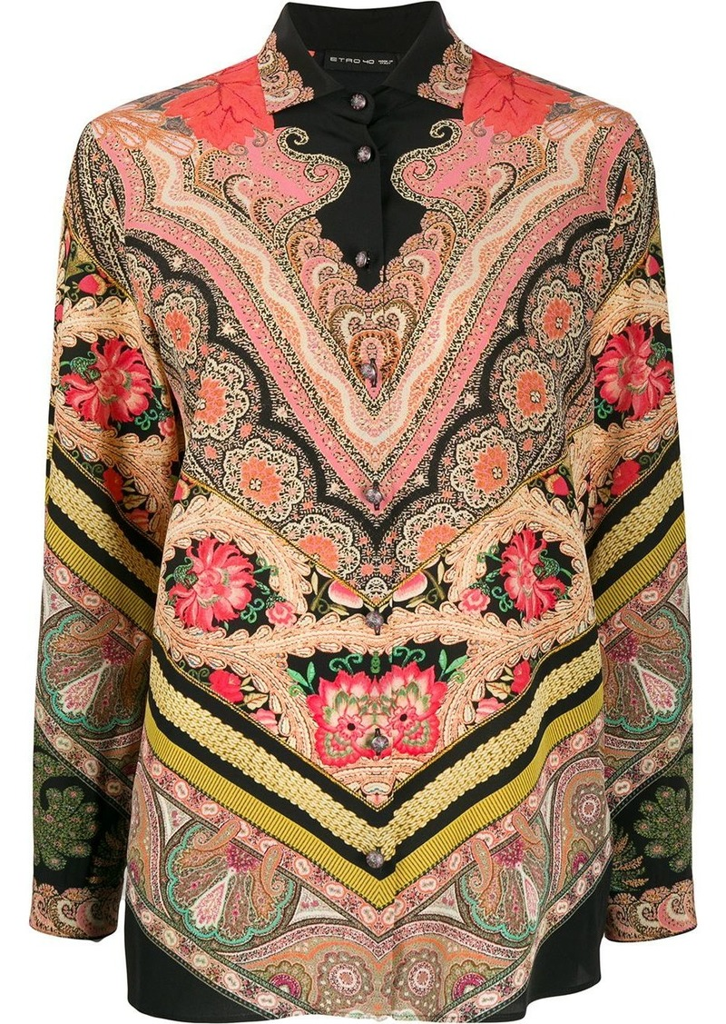 Etro mixed bohemian print shirt