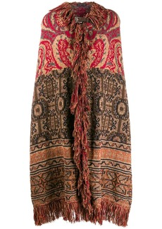Etro mixed pattern fringed cape