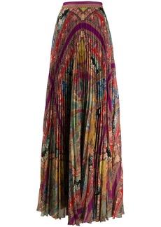 Etro mixed pattern pleated silk skirt
