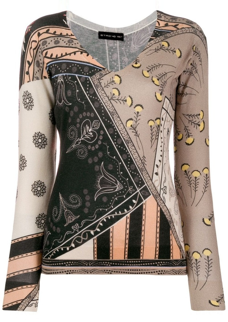 Etro mixed print knitted jumper