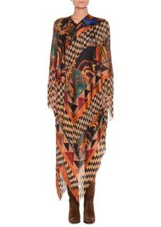 Etro Mixed-Print Long Dress w/ Fringe Hem