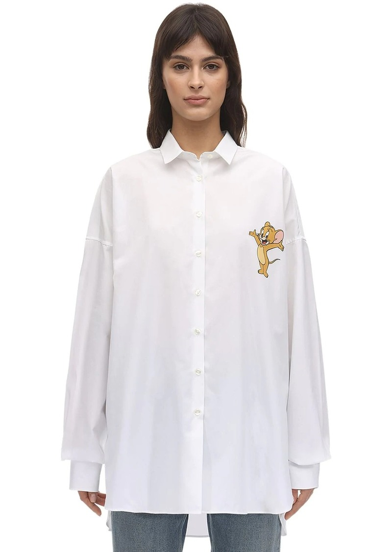Etro Mouse Print Long Cotton Poplin Shirt