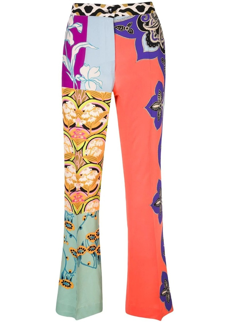 Etro multi-print flared trousers