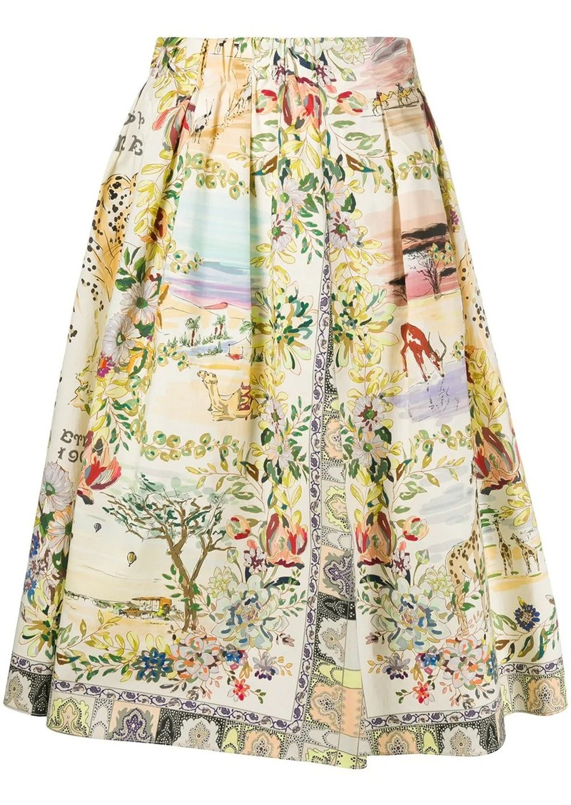 Etro nature print full shape skirt