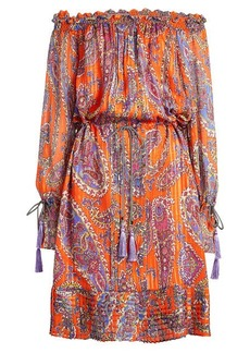 Etro Off-Shoulder Printed Silk Dress