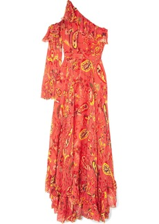 Etro One-shoulder Ruffle-trimmed Printed Chiffon Maxi Dress