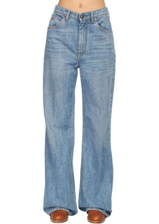 Etro Oversize Cotton Denim Flared Jeans