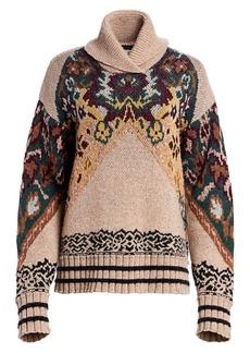Etro Oversize Floral Turtleneck Sweater