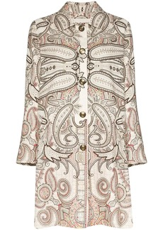 Etro paisley-embroidered linen-blend coat