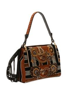 Etro Paisley Embroidered Velvet Shoulder Bag