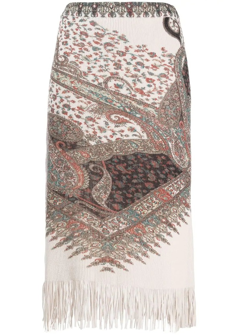 Etro paisley knit skirt