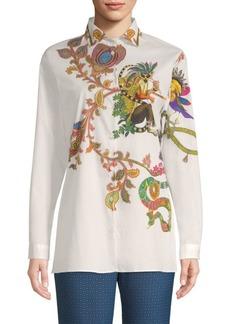 Paisley Lemur Button-Down Shirt