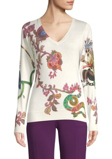 Etro Paisley Lemur V-Neck Sweater