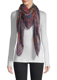 Etro Paisley Lilac Leopard-Print Wool & Silk Scarf