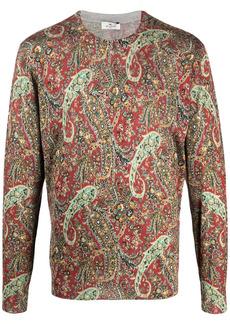 Etro paisley-print fine-knit jumper