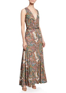 Etro Paisley Print Jersey Halter Gown