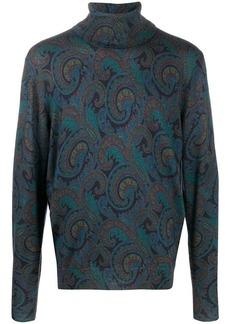 Etro paisley-print roll neck jumper