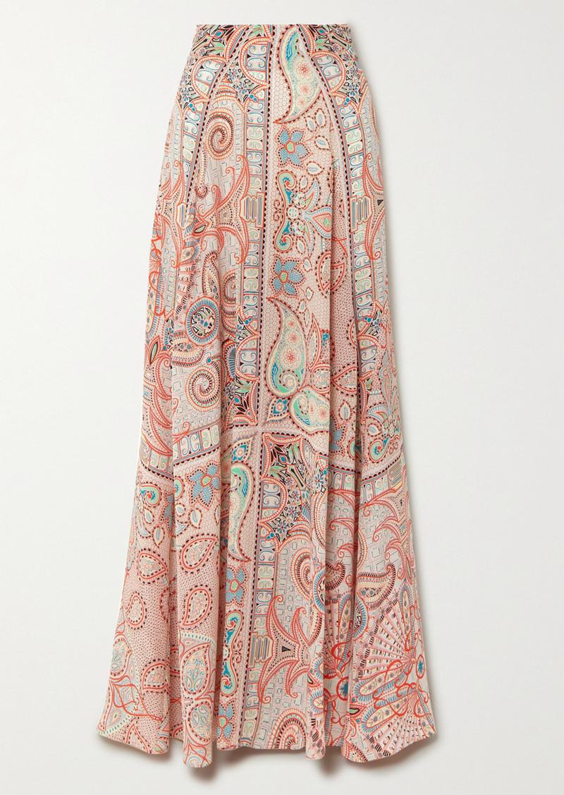 Etro Paisley-print Silk Crepe De Chine Maxi Skirt