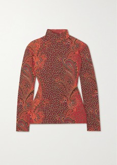 Etro Paisley-print Stretch Wool-blend Turtleneck Top