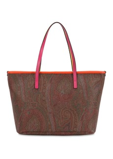Etro Paisley Printed Faux Leather Tote Bag