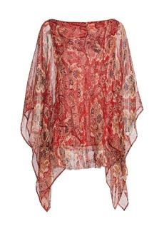 Etro Paisley Silk Poncho Top