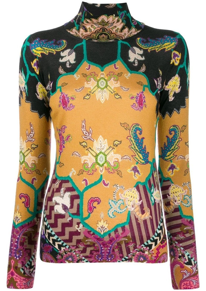 Etro paisley turtle-neck top